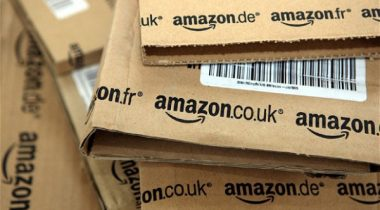 Close up of a stack of Amazon UK packages
