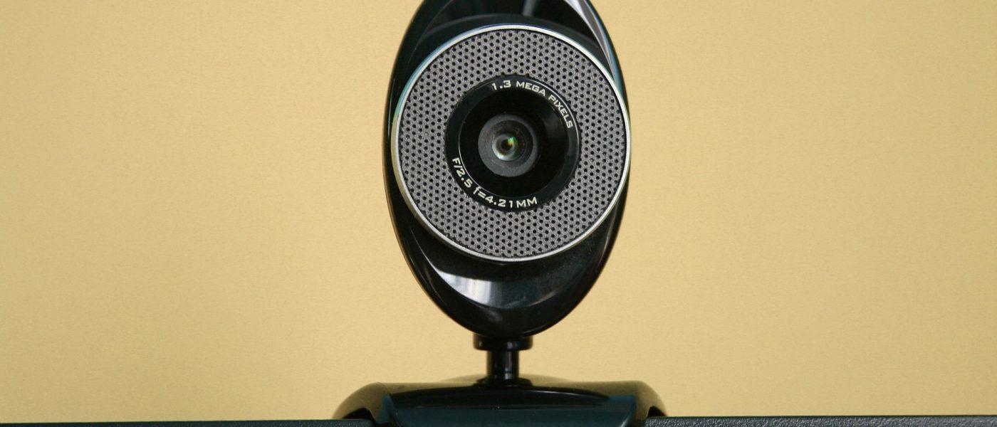 An oval shaped black web camera